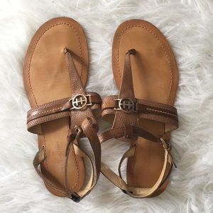 Tommy Hilfiger Tan Logo Strappy Sandals
